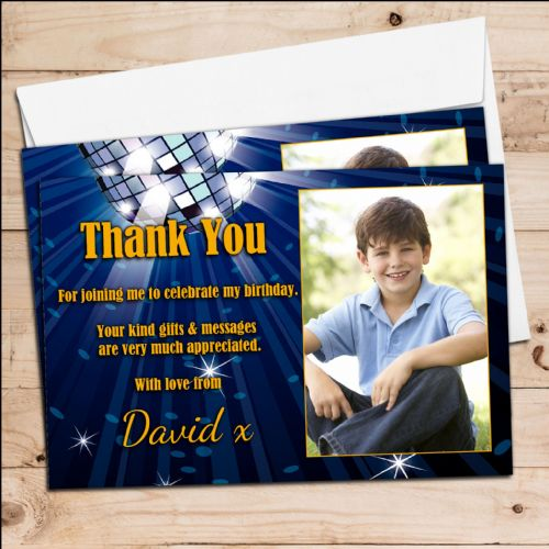 10 Personalised Blue Glitz Birthday Party Thank you PHOTO Cards N254